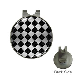 Square2 Black Marble & Silver Brushed Metal Golf Ball Marker Hat Clip by trendistuff