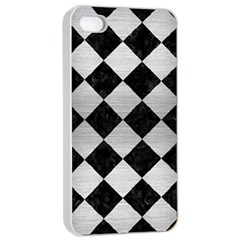 Square2 Black Marble & Silver Brushed Metal Apple Iphone 4/4s Seamless Case (white) by trendistuff