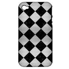 Square2 Black Marble & Silver Brushed Metal Apple Iphone 4/4s Hardshell Case (pc+silicone) by trendistuff