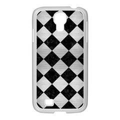 Square2 Black Marble & Silver Brushed Metal Samsung Galaxy S4 I9500/ I9505 Case (white) by trendistuff