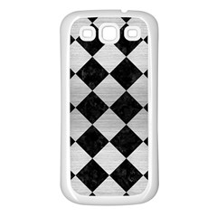 Square2 Black Marble & Silver Brushed Metal Samsung Galaxy S3 Back Case (white) by trendistuff