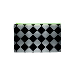 Square2 Black Marble & Silver Brushed Metal Cosmetic Bag (xs) by trendistuff