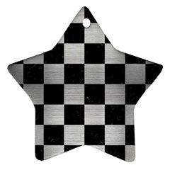Square1 Black Marble & Silver Brushed Metal Star Ornament (two Sides) by trendistuff