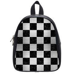 Square1 Black Marble & Silver Brushed Metal School Bag (small) by trendistuff