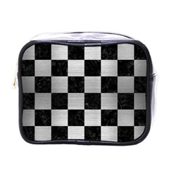 Square1 Black Marble & Silver Brushed Metal Mini Toiletries Bag (one Side) by trendistuff