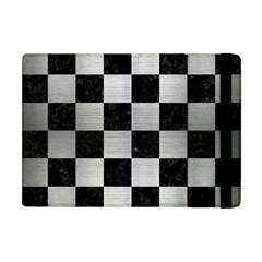 Square1 Black Marble & Silver Brushed Metal Apple Ipad Mini Flip Case by trendistuff