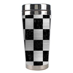 Square1 Black Marble & Silver Brushed Metal Stainless Steel Travel Tumbler