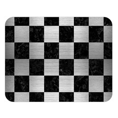 Square1 Black Marble & Silver Brushed Metal Double Sided Flano Blanket (large) by trendistuff