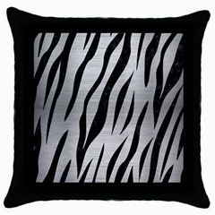 Skin3 Black Marble & Silver Brushed Metal (r) Throw Pillow Case (black) by trendistuff