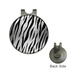 Skin3 Black Marble & Silver Brushed Metal (r) Golf Ball Marker Hat Clip by trendistuff