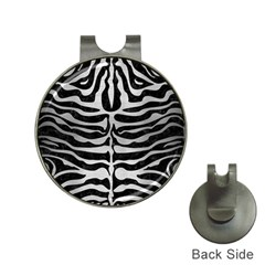 Skin2 Black Marble & Silver Brushed Metal Golf Ball Marker Hat Clip by trendistuff