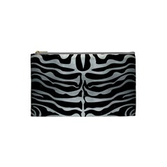Skin2 Black Marble & Silver Brushed Metal Cosmetic Bag (small) by trendistuff