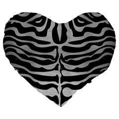 Skin2 Black Marble & Silver Brushed Metal Large 19  Premium Flano Heart Shape Cushion by trendistuff