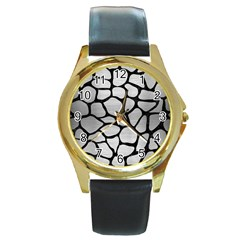 Skin1 Black Marble & Silver Brushed Metal Round Gold Metal Watch by trendistuff