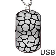 Skin1 Black Marble & Silver Brushed Metal Dog Tag Usb Flash (two Sides)