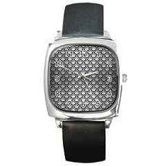 Scales2 Black Marble & Silver Brushed Metal (r) Square Metal Watch by trendistuff