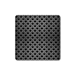Scales2 Black Marble & Silver Brushed Metal Magnet (square) by trendistuff