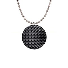 Scales2 Black Marble & Silver Brushed Metal 1  Button Necklace by trendistuff