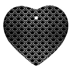 Scales2 Black Marble & Silver Brushed Metal Heart Ornament (two Sides) by trendistuff