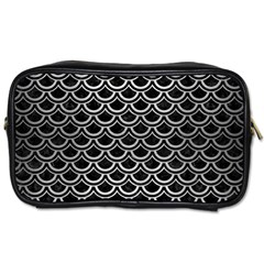 Scales2 Black Marble & Silver Brushed Metal Toiletries Bag (two Sides) by trendistuff