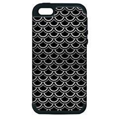 Scales2 Black Marble & Silver Brushed Metal Apple Iphone 5 Hardshell Case (pc+silicone)