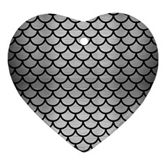 Scales1 Black Marble & Silver Brushed Metal (r) Ornament (heart)