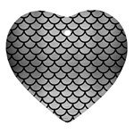 SCALES1 BLACK MARBLE & SILVER BRUSHED METAL (R) Ornament (Heart) Front