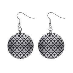 Scales1 Black Marble & Silver Brushed Metal (r) 1  Button Earrings by trendistuff