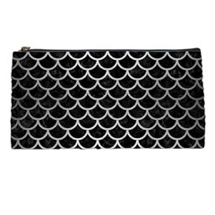 Scales1 Black Marble & Silver Brushed Metal Pencil Case by trendistuff