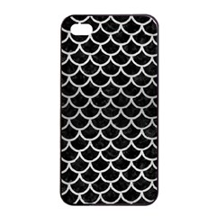 Scales1 Black Marble & Silver Brushed Metal Apple Iphone 4/4s Seamless Case (black) by trendistuff