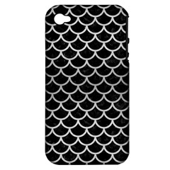 Scales1 Black Marble & Silver Brushed Metal Apple Iphone 4/4s Hardshell Case (pc+silicone) by trendistuff