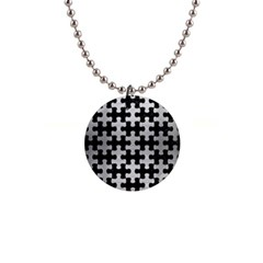 Puzzle1 Black Marble & Silver Brushed Metal 1  Button Necklace by trendistuff