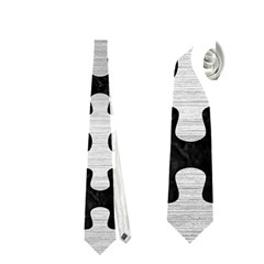Puzzle1 Black Marble & Silver Brushed Metal Necktie (two Side) by trendistuff