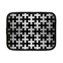 Puzzle1 Black Marble & Silver Brushed Metal Netbook Case (small) by trendistuff