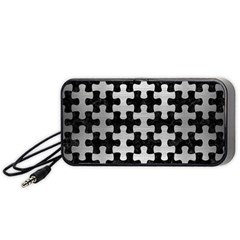 Puzzle1 Black Marble & Silver Brushed Metal Portable Speaker (black)