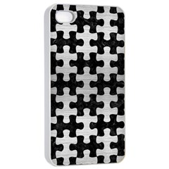 Puzzle1 Black Marble & Silver Brushed Metal Apple Iphone 4/4s Seamless Case (white) by trendistuff