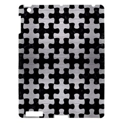 Puzzle1 Black Marble & Silver Brushed Metal Apple Ipad 3/4 Hardshell Case by trendistuff