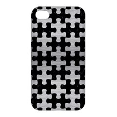 Puzzle1 Black Marble & Silver Brushed Metal Apple Iphone 4/4s Premium Hardshell Case by trendistuff