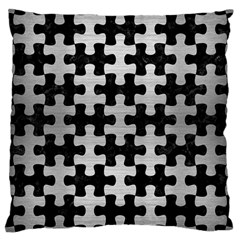 Puzzle1 Black Marble & Silver Brushed Metal Large Cushion Case (one Side) by trendistuff