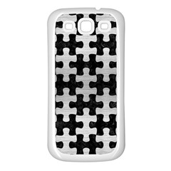 Puzzle1 Black Marble & Silver Brushed Metal Samsung Galaxy S3 Back Case (white) by trendistuff