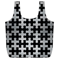 Puzzle1 Black Marble & Silver Brushed Metal Full Print Recycle Bag (xl) by trendistuff
