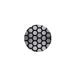 Hexagon2 Black Marble & Silver Brushed Metal (r) 1  Mini Button by trendistuff