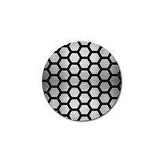 Hexagon2 Black Marble & Silver Brushed Metal (r) Golf Ball Marker (4 Pack) by trendistuff