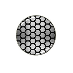 Hexagon2 Black Marble & Silver Brushed Metal (r) Hat Clip Ball Marker (4 Pack) by trendistuff
