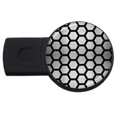 Hexagon2 Black Marble & Silver Brushed Metal (r) Usb Flash Drive Round (4 Gb) by trendistuff