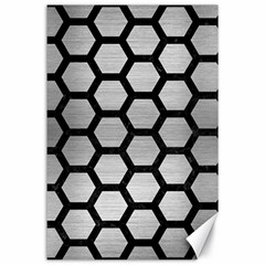 Hexagon2 Black Marble & Silver Brushed Metal (r) Canvas 24  X 36  by trendistuff