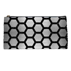Hexagon2 Black Marble & Silver Brushed Metal (r) Pencil Case by trendistuff