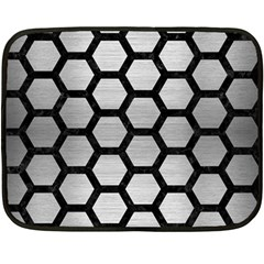 Hexagon2 Black Marble & Silver Brushed Metal (r) Double Sided Fleece Blanket (mini) by trendistuff