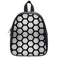 Hexagon2 Black Marble & Silver Brushed Metal (r) School Bag (small) by trendistuff