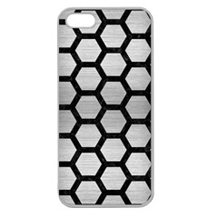 Hexagon2 Black Marble & Silver Brushed Metal (r) Apple Seamless Iphone 5 Case (clear) by trendistuff